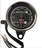 バイク 汎用 LED 3連 機械式 スピード メーター インジケーター 付 160km/h バック ランプ ドレスアップ パネル ブラック