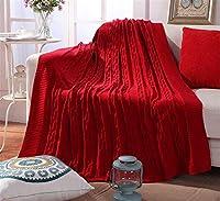 コットンツイスト糸編みブランケット夏120 * 180センチメートルソフトホワイトブラウンレッド暖かい厚い快適な家庭用ライトダブルベッドサイズのソファ大冬の秋