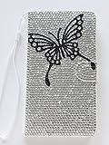 【Yoco Joy】HTC J butterfly HTL23 au専用 合成 PU ケース ?スマホカバー 手帳型 横【フルダイヤ 蝶 160】ブランド ロゴ入り 通販 おしゃれ きらきら デコ 保護フィルム付き!鏡無し