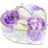 Fenteer 6個 ソープフラワー 石鹸の花 バラ 心の形 ギフトボックス  バレンタインデー  ホワイトデー  母の日 結婚記念日 プレゼント 全5タイプ選べる - 紫と白