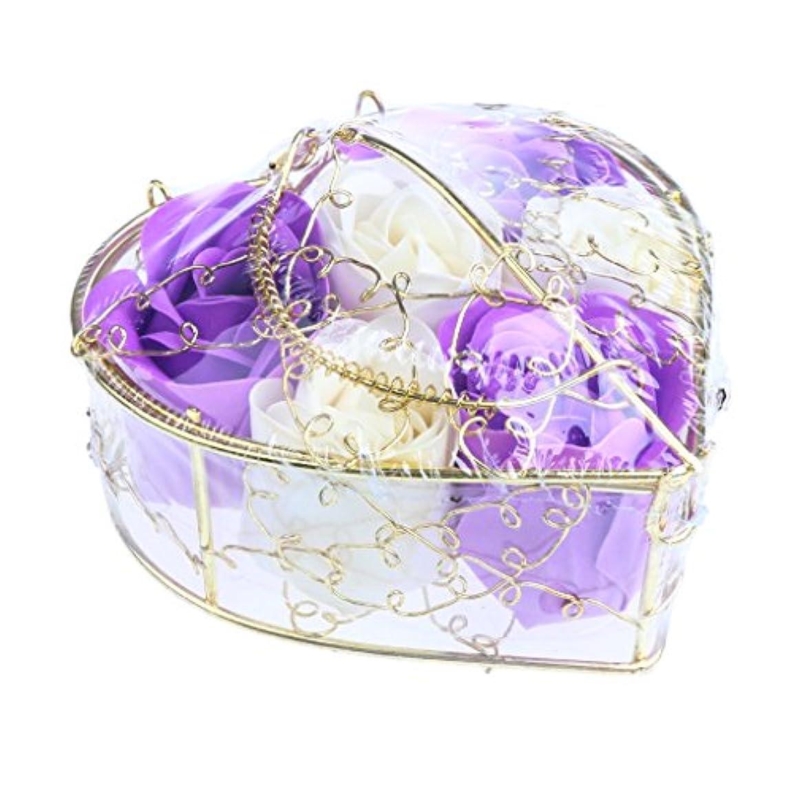 アラバマ生命体便利Fenteer 6個 ソープフラワー 石鹸の花 バラ 心の形 ギフトボックス  バレンタインデー  ホワイトデー  母の日 結婚記念日 プレゼント 全5タイプ選べる - 紫と白