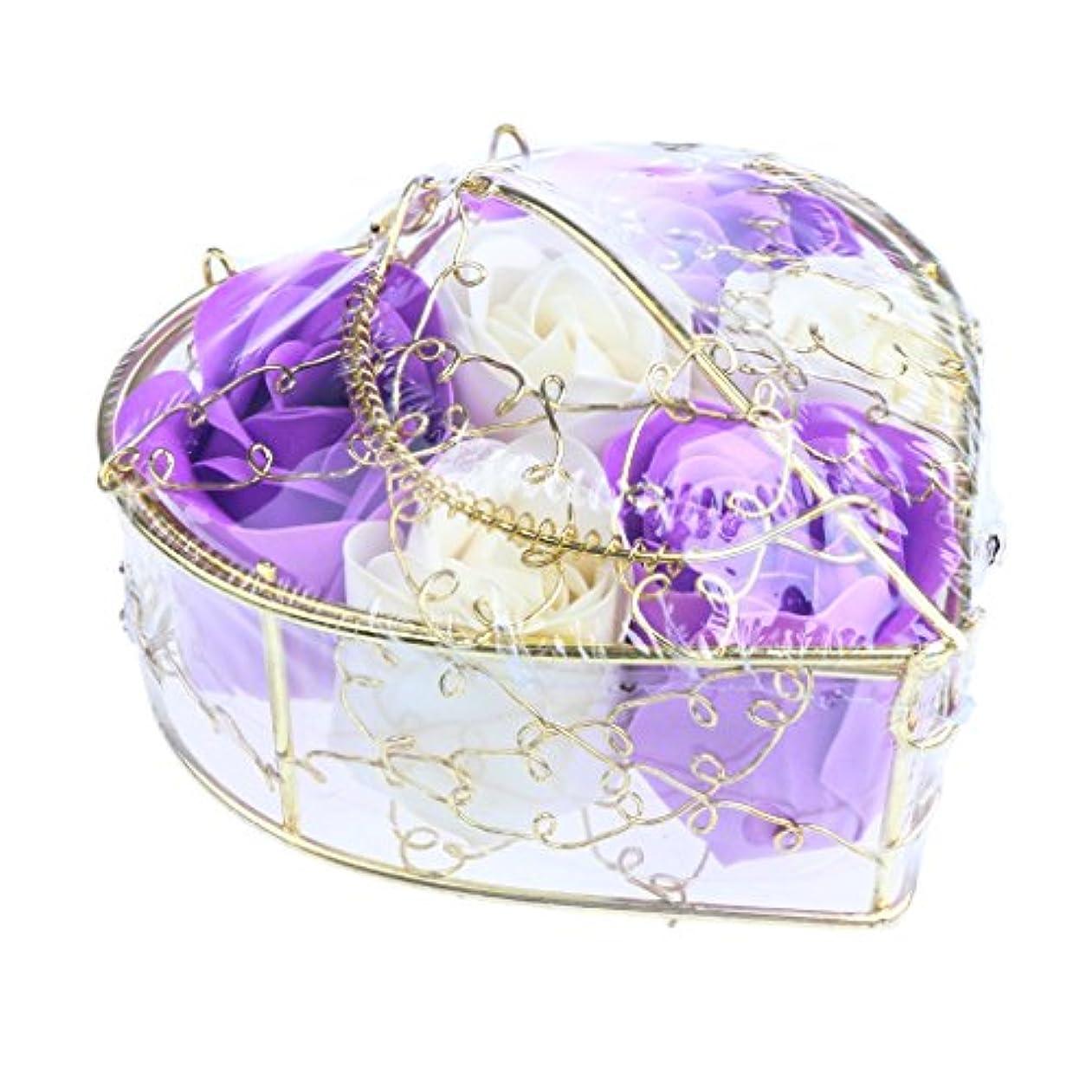 モディッシュぺディカブくしゃくしゃ6個 ソープフラワー 石鹸の花 バラ 心の形 ギフトボックス バレンタインデー ホワイトデー 母の日 結婚記念日 プレゼント 全5タイプ選べる - 紫と白