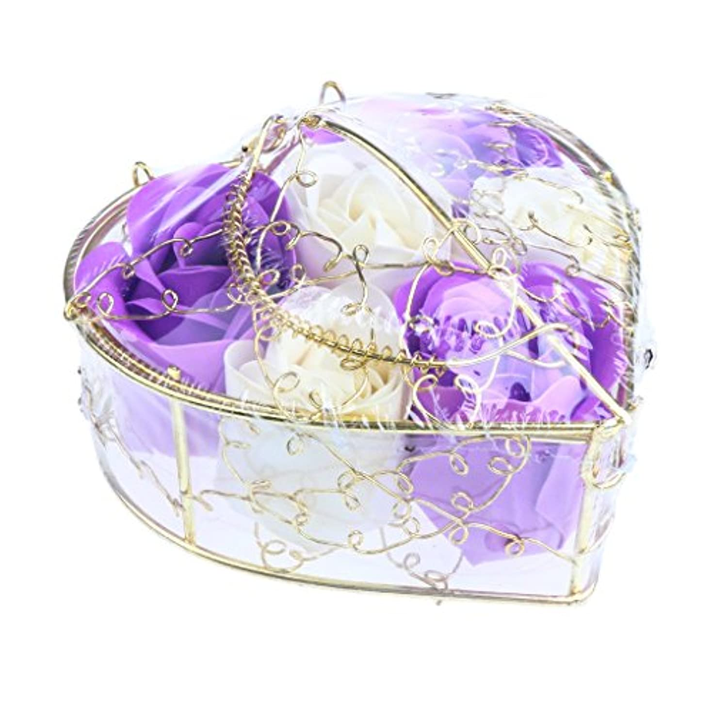 名目上のシートに向かってFenteer 6個 ソープフラワー 石鹸の花 バラ 心の形 ギフトボックス  バレンタインデー  ホワイトデー  母の日 結婚記念日 プレゼント 全5タイプ選べる - 紫と白