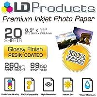 """LDプレミアム光沢インクジェット写真用紙( 8.5"""" x11"""" ) 20パック–樹脂コーティング"""