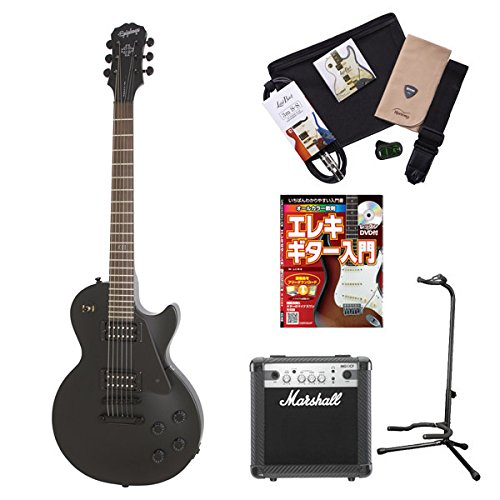 Epiphone GothLPStudio PBK レスポールスタジオ エレキギター 初心者セット マーシャルアンプ 入門セット (エピフォン) オンラインストア限定