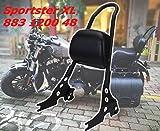 (Jptop) Harley専用 パッド付き シーシーバー 取り外し可能 バックレスト ブラック/クローム _ハーレー スポーツスター 1200 883に対応