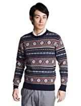 Fair Isle Wool Crewneck Sweater 1213-117-0853: Navy