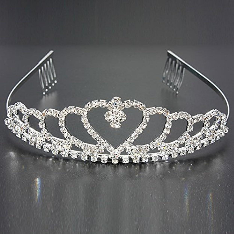 ロッド昇る予見するYZUEYT 結婚式の花嫁のクリスタルのラインストーンハート型クラウンの髪ティアラ YZUEYT (Size : One size)