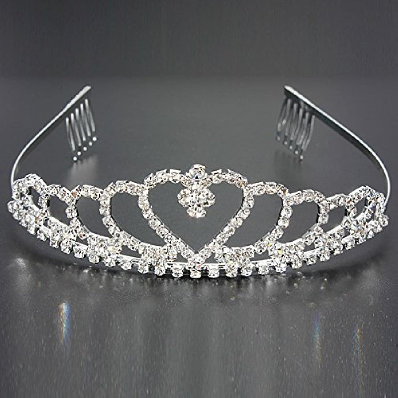 立法区別する面積YZUEYT 結婚式の花嫁のクリスタルのラインストーンハート型クラウンの髪ティアラ YZUEYT (Size : One size)