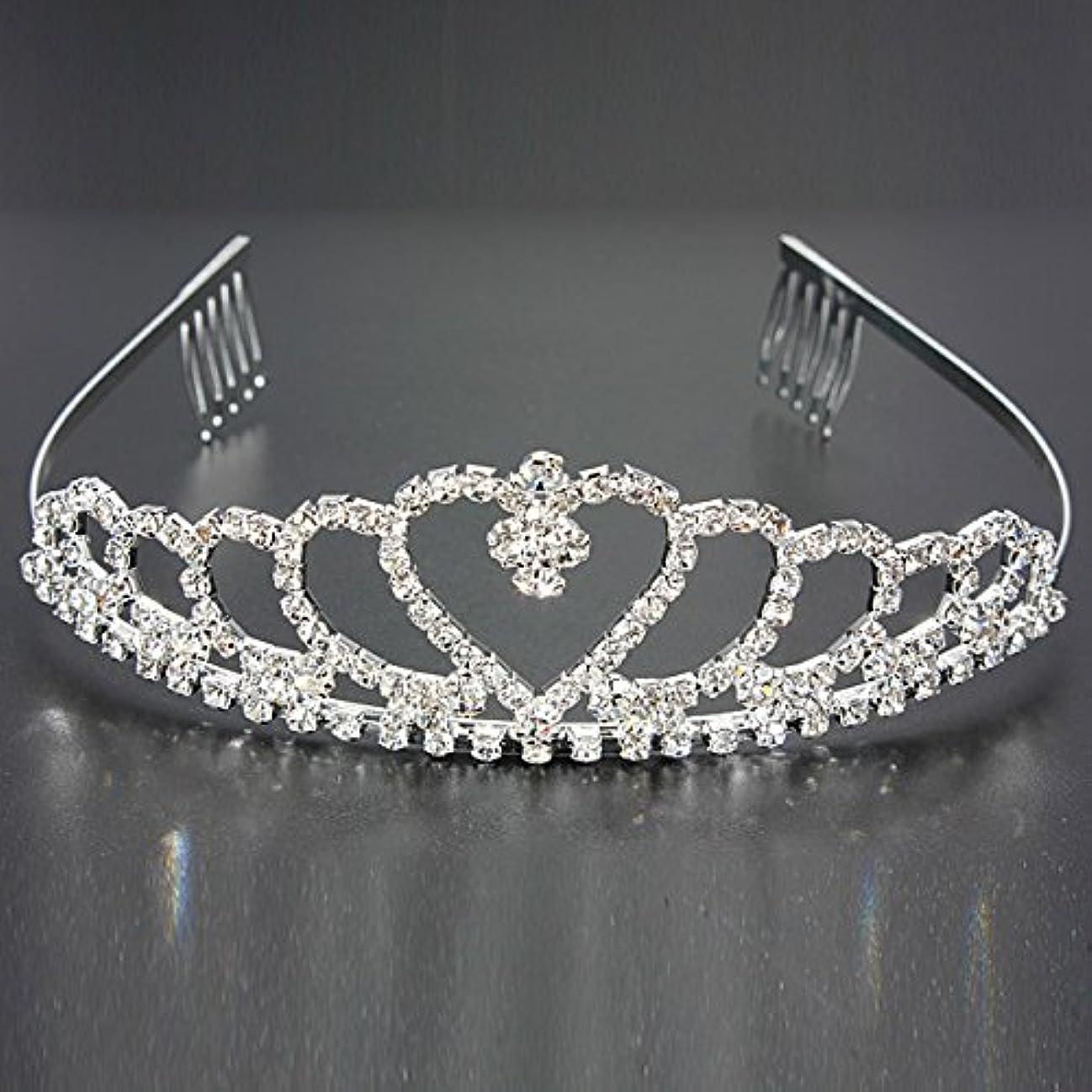 贅沢な文句を言う困惑YZUEYT 結婚式の花嫁のクリスタルのラインストーンハート型クラウンの髪ティアラ YZUEYT (Size : One size)