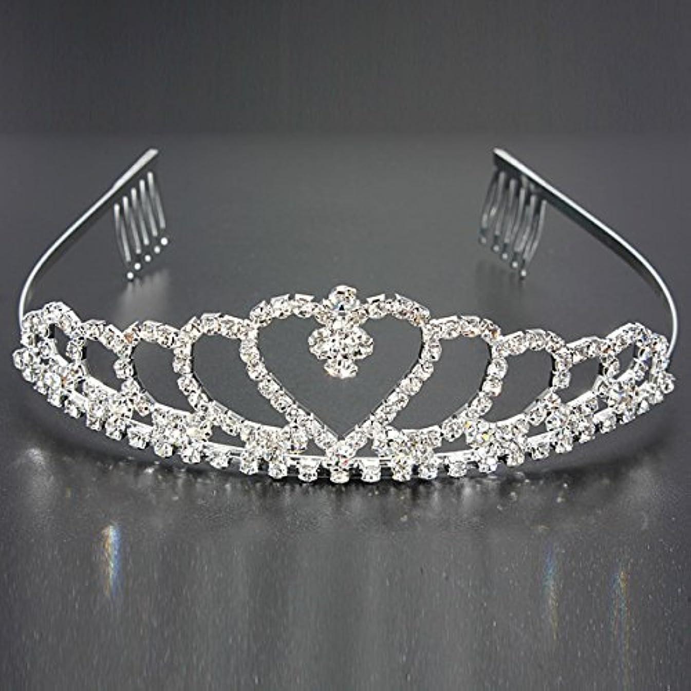 正しく破壊ステープルYZUEYT 結婚式の花嫁のクリスタルのラインストーンハート型クラウンの髪ティアラ YZUEYT (Size : One size)