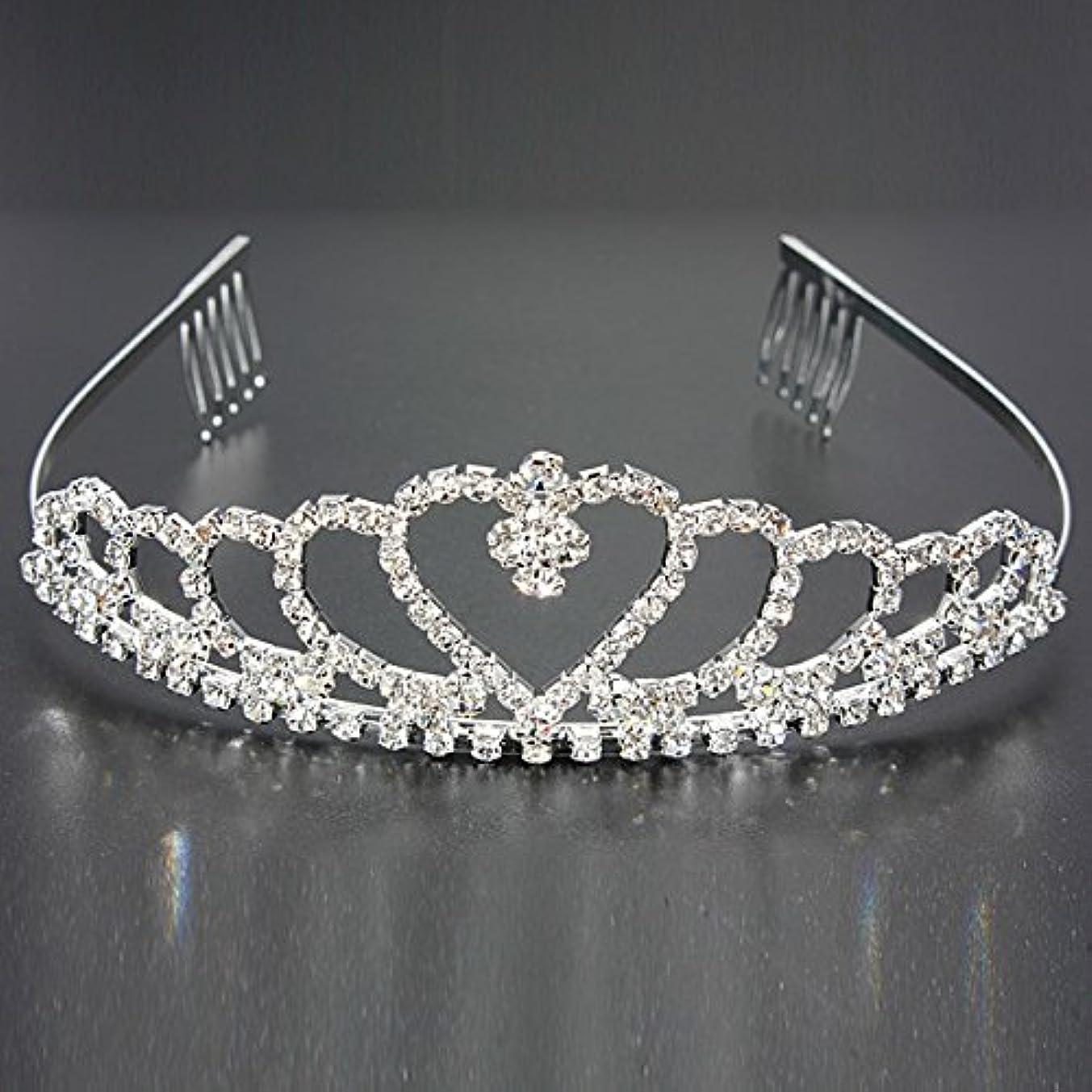 手術限られた独立してYZUEYT 結婚式の花嫁のクリスタルのラインストーンハート型クラウンの髪ティアラ YZUEYT (Size : One size)