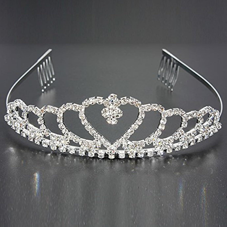 組立コンクリートロックYZUEYT 結婚式の花嫁のクリスタルのラインストーンハート型クラウンの髪ティアラ YZUEYT (Size : One size)