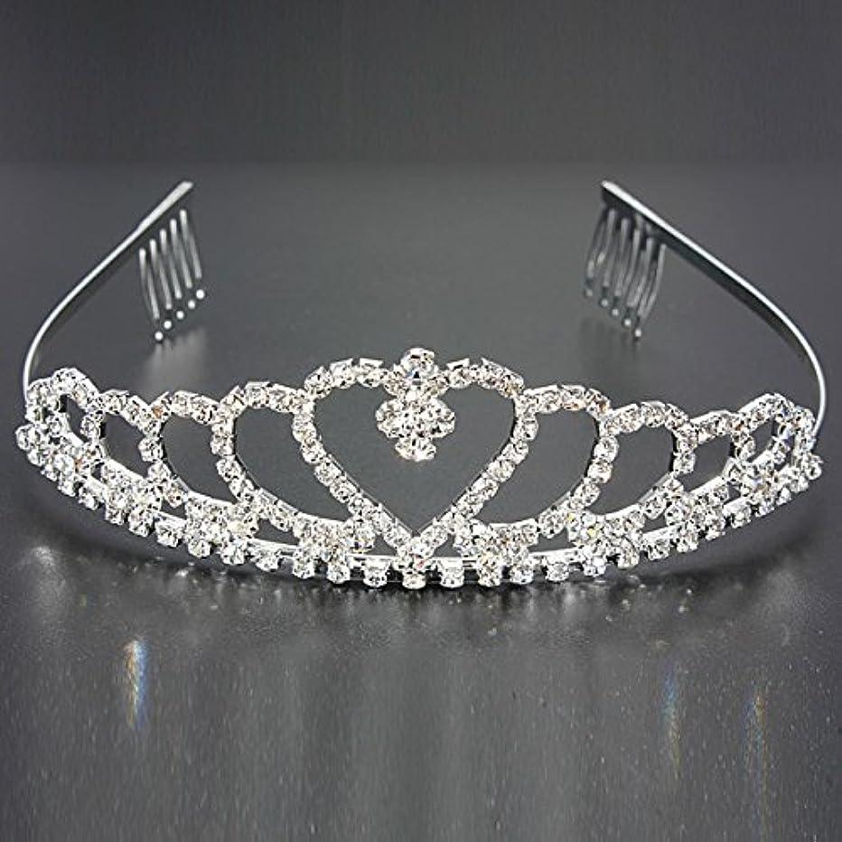 お誕生日変数尊敬するYZUEYT 結婚式の花嫁のクリスタルのラインストーンハート型クラウンの髪ティアラ YZUEYT (Size : One size)