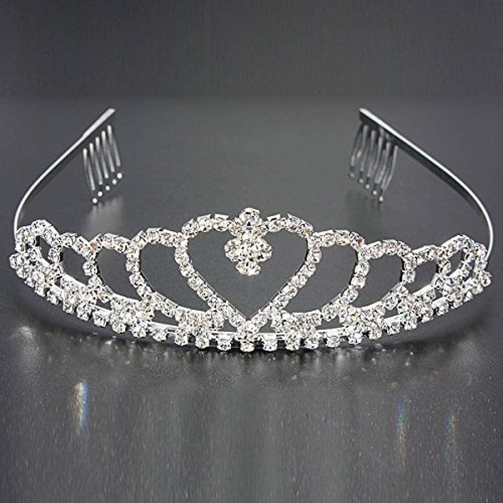 なんとなく同封するサークルYZUEYT 結婚式の花嫁のクリスタルのラインストーンハート型クラウンの髪ティアラ YZUEYT (Size : One size)
