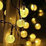 リーダーテク(lederTEK) ソーラー 防雨防水型 電球色 泡入りボール 電飾 イルミネーション LED 6m 30球 8点滅モデル クリスマス ライト 新年 飾り付け