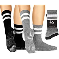 LA Active Grip Socks - 2 Pairs - Yoga Pilates Barre Ballet Non Slip Crew Hospital