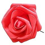 人工ローズ,SODIAL(R) 人工ローズPEシルクフラワー ウェディングブーケパーティーの装飾 赤