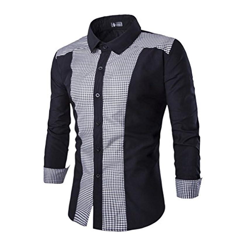 ペインティングジョージスティーブンソン概してHonghu メンズ シャツ 長袖 スリムチェック柄 ステッチ カジュアル ブラック L 1PC