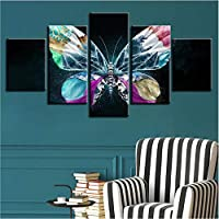 Xueshao 家の装飾オフィスフレーム壁アートワークポスター現代のキャンバス5ピース蝶花Hdモジュラー風景写真絵画-20X35Cmx2 20X45Cmx2 20X55Cmx1