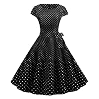maweisong Women 1950s Vintage A-Line Cap Sleeve Cocktail Swing Party Dress 10 S