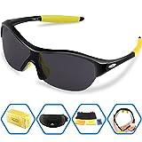 Torege サングラス 超軽量 TR90 UV400 紫外線カット 偏光レンズ 子供用 スポーツサングラス TRG001 (ブラック&イェロー) -