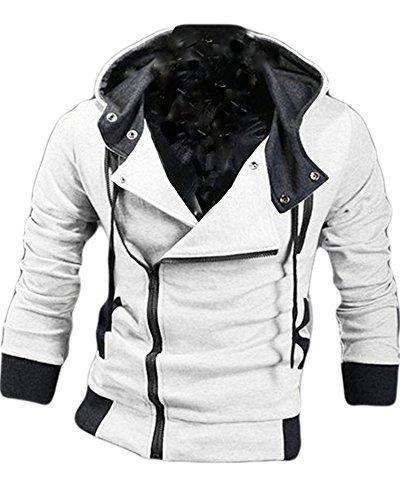 (コズーン)KO ZOON B3 メンズ ファッション ライダース パーカー スウェット 裏起毛 前開き ジップ アップ フード 付き 厚手 軽量 3color (XL, ライトグレー)
