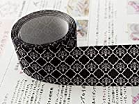 Sweet雑貨オリジナルリボン モロッカン柄(模様) 黒 幅38mm 4ヤード(約3.7メートル) *「リボンの作り方」両面カラー1枚付き * [並行輸入品]