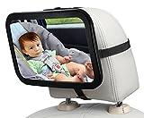 LENDOO ベビーミラー 車用 赤ちゃんの様子を確認 インサイトミラー 曲面鏡 簡単取り付け 360度調節可能 飛散防止 後部座席 ベビーシート監視 お出かけ対応 (黒)