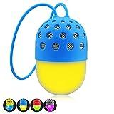 Bluetooth スピーカー XUNPULS高音質 小型 ワイヤレススピーカー マイク搭載 多色変換LEDライト付 防水防滴防塵 お風呂用 (ブルー)