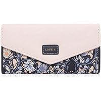 Damara Womens Envelope Style Wallet Flower Print Trifold Cards Holder