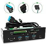 AQQEF SDカードリーダー 5.25インチ 内蔵型 メモリ カードリーダー CF&MD/SD&MMC/XD/MICRO SD&TF/M2/MS/eSATA/USB3.0/USB2.0/Type-cポート対応(日本語取説付き)