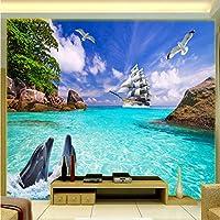 Mingld パーソナライズされたカスタマイズ海辺の風景イルカ写真の壁紙3Dの壁壁画リビングルームのベッドルームテレビの背景壁紙-350X250Cm