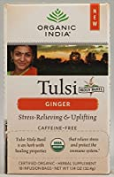 Organic India, Tulsi Holy Basil Tea, Caffeine-Free, Ginger, 18 Infusion Bags, 1.14 oz (32.4 g) by Organic India