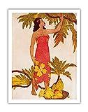 パンノキガール、ハワイ - ロイヤル・ハワイアン・ホテル(太平洋のピンクパレス)のメニューカバー - ビンテージカラーのアクアチントエッチング によって作成された ジョン・メルヴィル・ケリー c.1940s - アートポスター - 51cm x 66cm