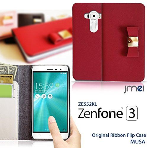 Zenfone3 ZE552KL ケース 本革 JMEIレザーリボンフリップケース MUSA ライトピンク ゼンフォン 3 zenfone simフリー ASUS スマホ カバー スマホケース スマートフォン