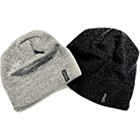 Merino Wool Beanie Hat Two Pack Dark Grey Light Grey Men,Women Kids
