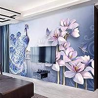Wuyyii カスタム壁紙3D写真壁画新鮮な5Dエンボス孔雀マグノリアテレビの背景壁の装飾絵画8D壁紙 - 120×100センチ