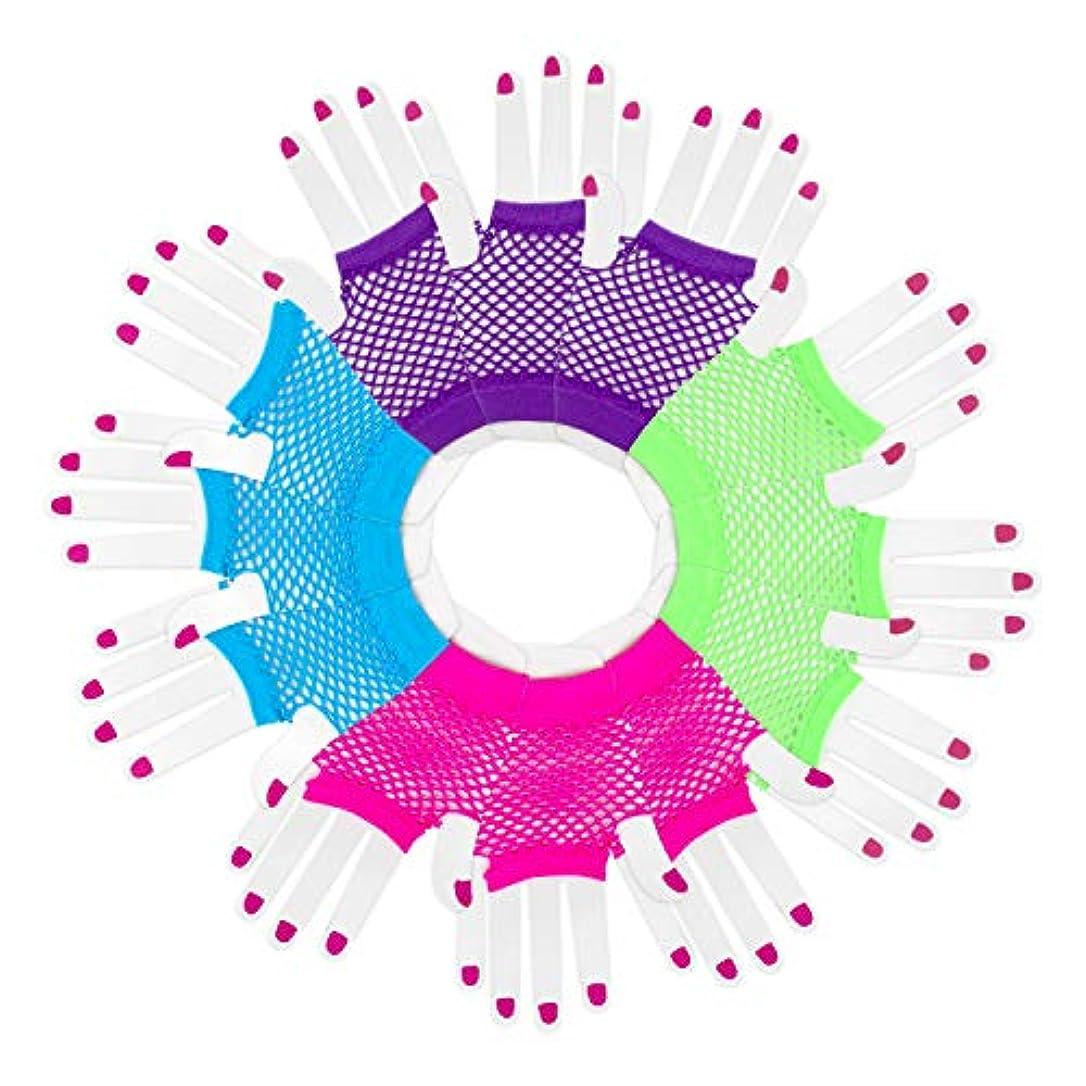 残酷キャリッジ前述の(Pack of 12 Pairs) - [Novelty Place] Fingerless Diva Fishnet Wrist Gloves Assorted Neon Colours (12 Pairs)