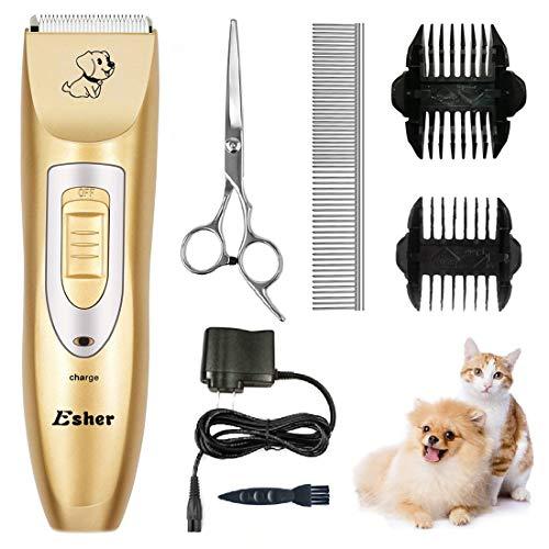 ペット用バリカン クリッパー 犬猫用 シェーバー 低騒音・高性能 Esher ゴールド