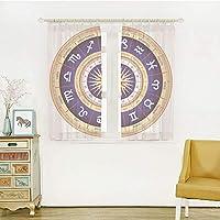 装飾 レースカーテン UVカットミラーレースカーテン 幅150cm×丈135cm 2枚組 占星術、占星術ホイールがんレオおとめ座天秤座corp座シンボル画像、ネイビーブルーホワイトとイエロー