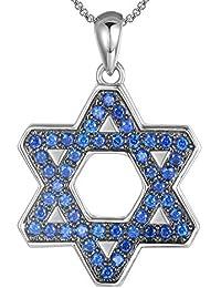 Orabelle ユダヤのダビデの星 ペンダントネックレス 男女兼用 ブルー キラ光るアイスアウトチャームジュエリー イスラエル製