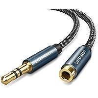 UGREEN オーディオ延長ケーブル ヘッドホン 延長コード 3.5mm高音質 ステレオミニプラグ 延長 ナイロン編み 10000回以上曲げ耐久テスト スピーカー、PC、スマホ、TV、車、等に対応 (1m)
