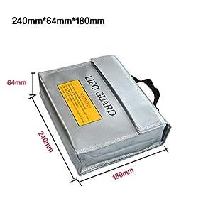 【Syarin優品】 最強防炎 ! リポバッテリー袋 LiPo Bag セーフティーバッグ  五サイズ!シルバー! (240mm*64mm*180mm)