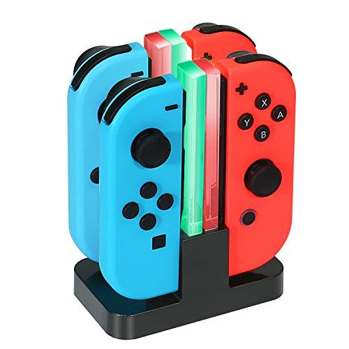 ジョイコン Joy-Con 充電 スタンド Nintendo Switch用 4台同時充電可能 KINGTOP ニンテンドー スイッチ 充電ホルダー チャージャー 充電指示LED付き 日本語説明書付き