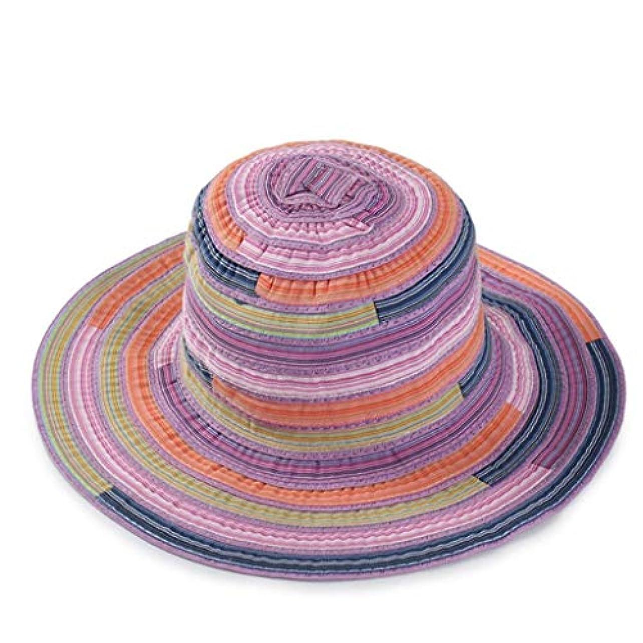 パーク蛇行因子UVカット 帽子 レディース ハット 旅行用 日よけ 夏季 日焼け 折りたたみ 持ち運び つば広 リボン付き 調節テープ ストライプ 柄 キャップ 通気性抜群 日除け UVカット 紫外線対策 ROSE ROMAN