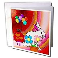 SmudgeArt動物デザイン–誕生日Bunny–グリーティングカード Set of 6 Greeting Cards