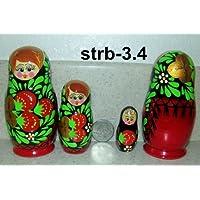 Russian Nesting Doll Strawberry 3 pcs / 4 in ** strb-3.4