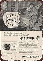 Shimaier 壁の装飾 メタルサイン 1953 GE Alarm Clock General Electric ウォールアート バー カフェ 縦20×横30cm ヴィンテージ風 メタルプレート ブリキ 看板