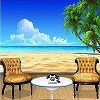 Xbwy 3D壁紙モダンシンプルビーチブルースカイココナッツ椰子の写真壁壁画ホテルダイニングルームのリビングルームテレビの背景装飾フレスコ画-120X100Cm